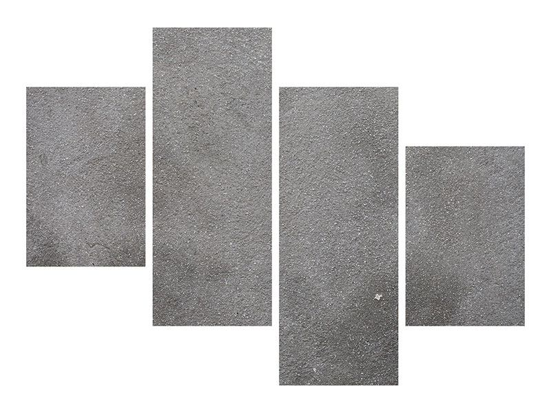 Metallic-Bild 4-teilig modern Beton in Dunkelgrau