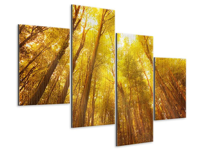 Metallic-Bild 4-teilig modern Herbstwald