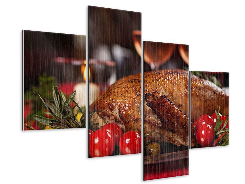 Metallic-Bild 4-teilig modern Köstliches Geflügel