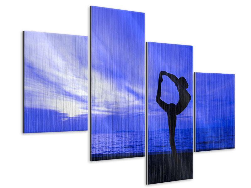 Metallic-Bild 4-teilig modern Yogaübung am Strand