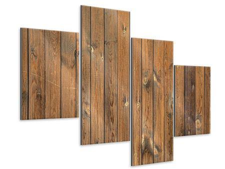 Metallic-Bild 4-teilig modern Bretterwand