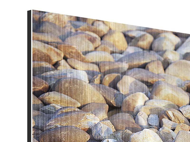 Metallic-Bild 4-teilig modern Strandsteine