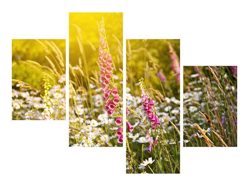 Metallic-Bild 4-teilig modern Sommerliche Blumenwiese