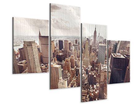 Metallic-Bild 4-teilig modern Skyline Über den Dächern Manhattans