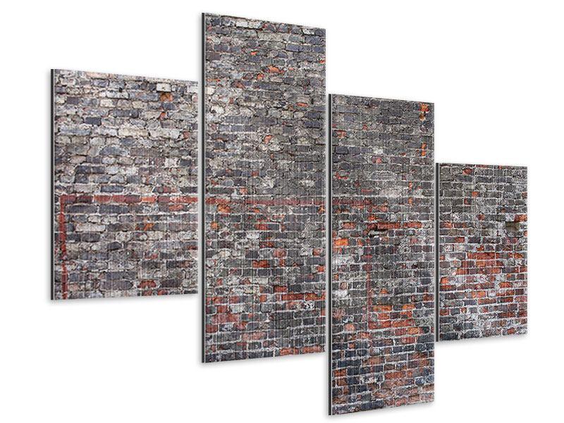 Metallic-Bild 4-teilig modern Alte Backsteine