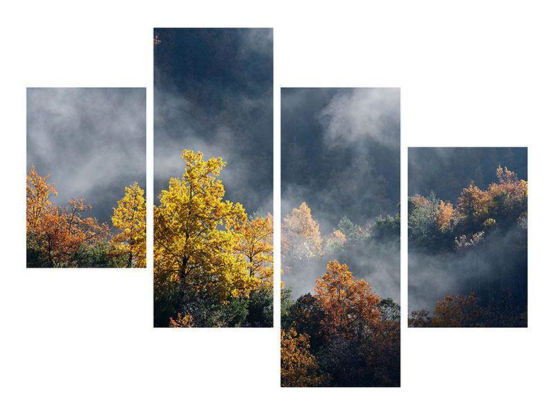 Metallic-Bild 4-teilig modern Mondscheinwald