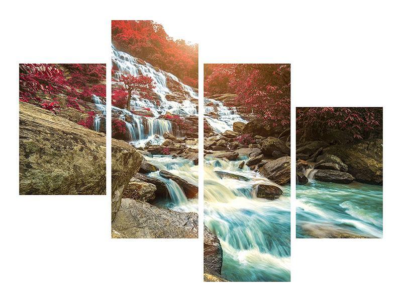 Metallic-Bild 4-teilig modern Exotischer Wasserfall