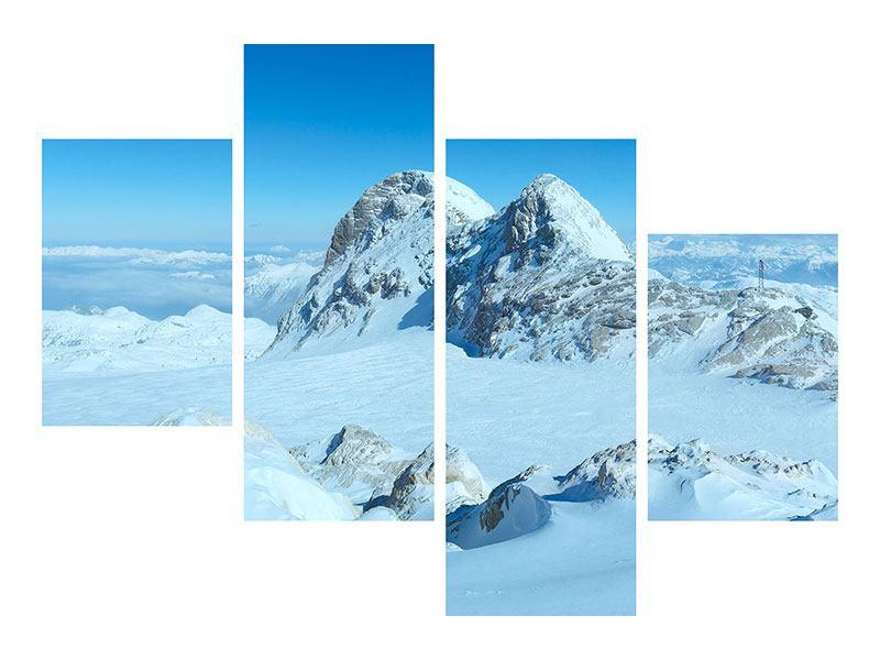 Metallic-Bild 4-teilig modern Über den Wolken