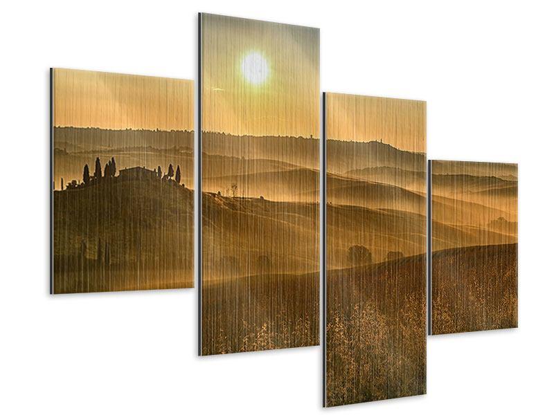 Metallic-Bild 4-teilig modern Sonnenuntergang im Gebirge