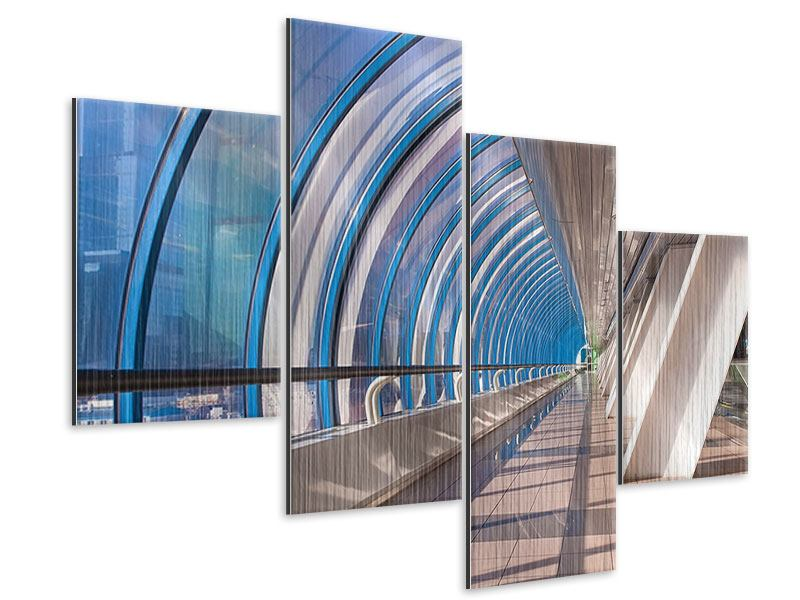 Metallic-Bild 4-teilig modern Hypermoderne Brücke