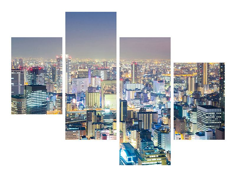 Metallic-Bild 4-teilig modern Skyline Osaka bei Sonnenuntergang