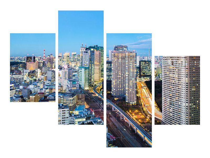 Metallic-Bild 4-teilig modern Skyline Tokio im Lichtermeer