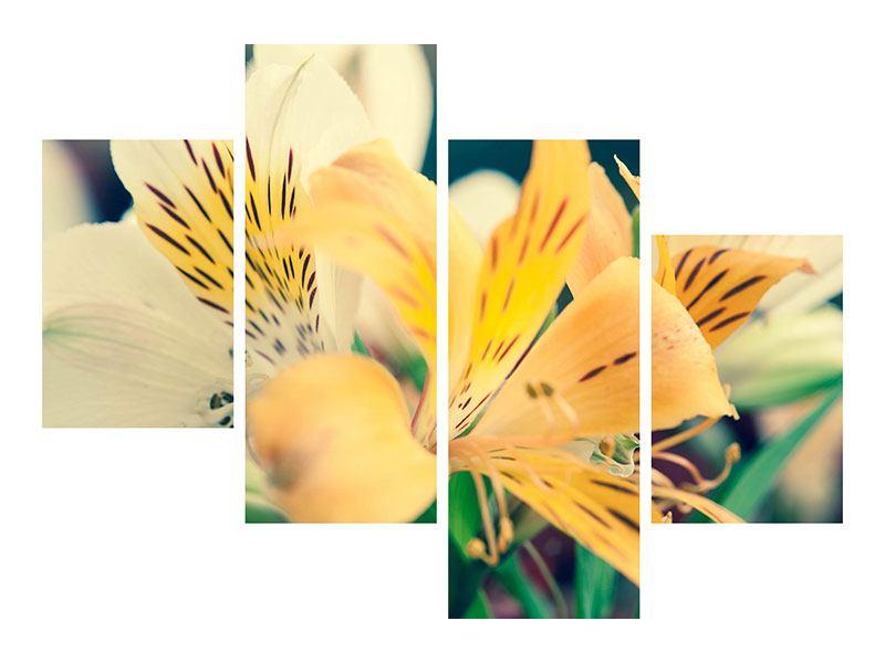 Metallic-Bild 4-teilig modern Tigerlilien