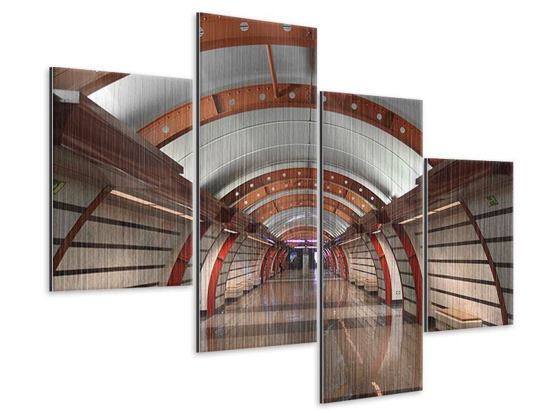 Metallic-Bild 4-teilig modern U-Bahn Station
