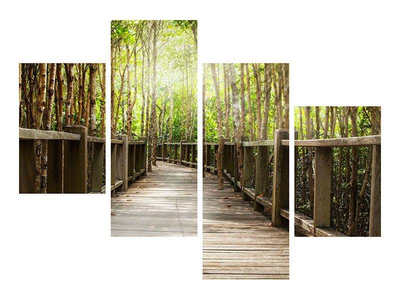 Metallic-Bild 4-teilig modern Hölzerne Brücke