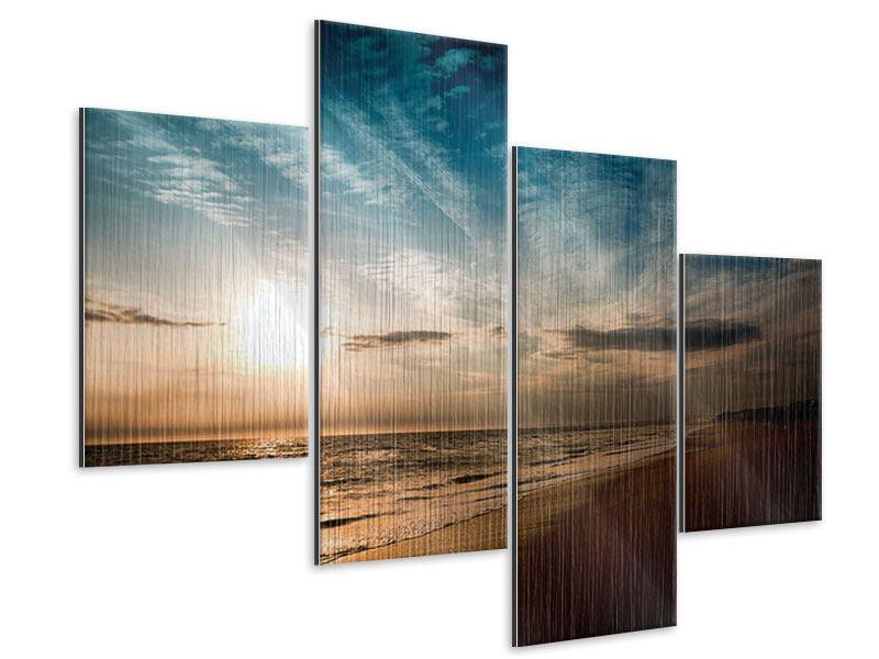 Metallic-Bild 4-teilig modern Strandspaziergang