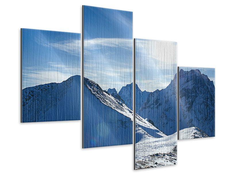 Metallic-Bild 4-teilig modern Der Berg im Schnee