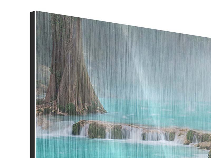 Metallic-Bild 4-teilig modern Haus am Wasserfall
