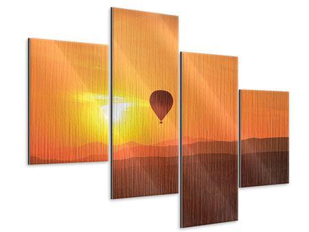 Metallic-Bild 4-teilig modern Heissluftballon bei Sonnenuntergang