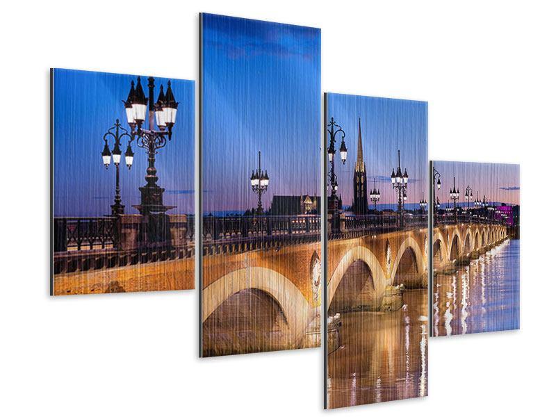 Metallic-Bild 4-teilig modern Pont De Pierre bei Sonnenuntergang