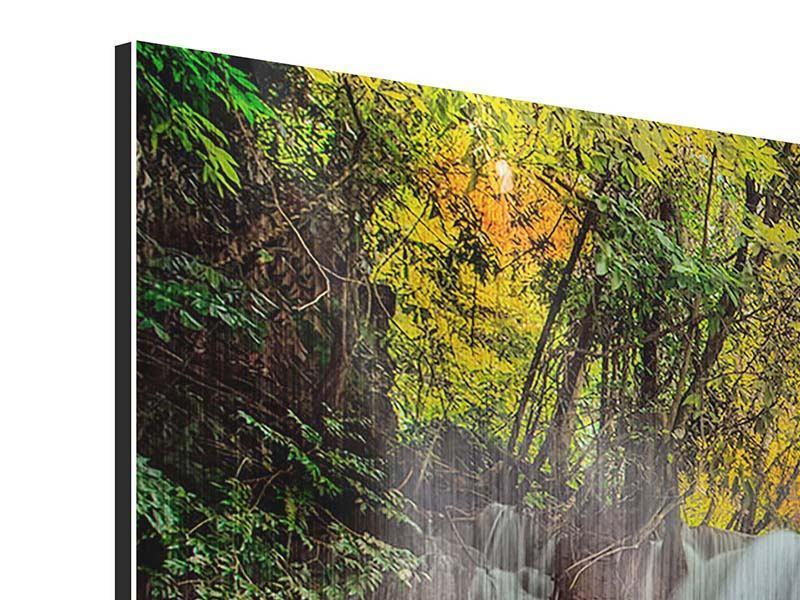 Metallic-Bild 4-teilig modern Fallendes Gewässer