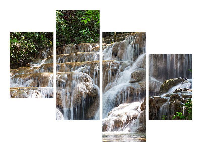 Metallic-Bild 4-teilig modern Mexikanischer Wasserfall