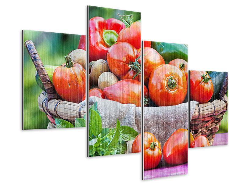 Metallic-Bild 4-teilig modern Gemüsekorb