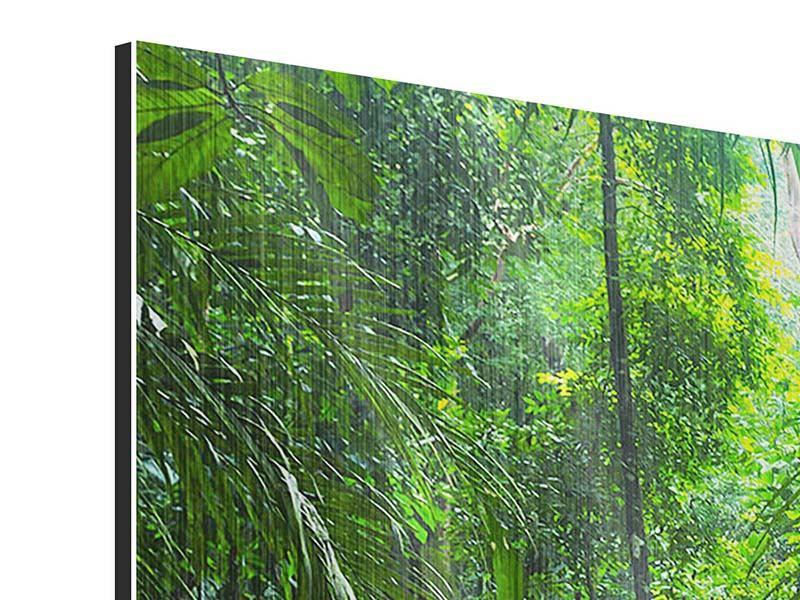 Metallic-Bild 4-teilig modern Wasserfall Agua Azul