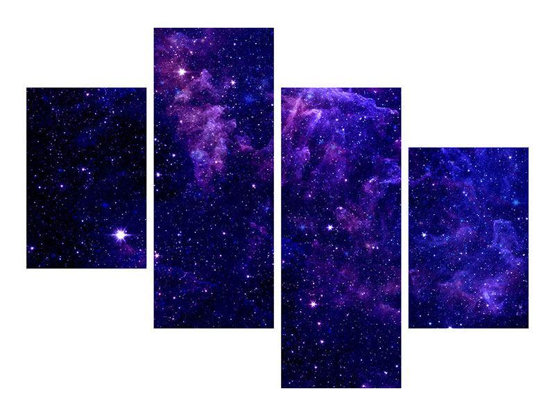 Metallic-Bild 4-teilig modern Ein Himmel voll Sterne