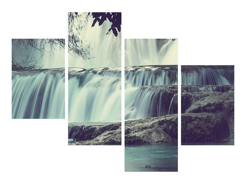 Metallic-Bild 4-teilig modern Wasserfall Mexiko