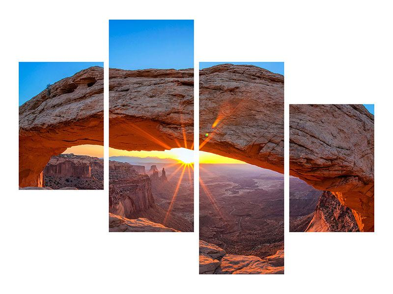 Metallic-Bild 4-teilig modern Sonnenuntergang am Mesa Arch