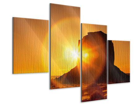 Metallic-Bild 4-teilig modern Sonnenuntergang Monument Valley