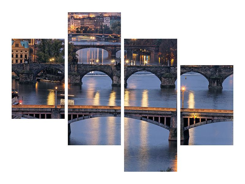 Metallic-Bild 4-teilig modern Brücken in Prag