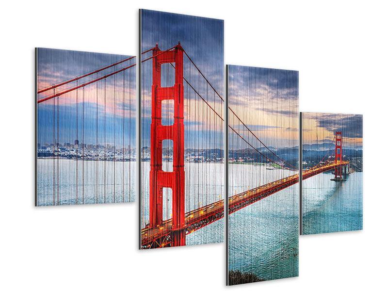 Metallic-Bild 4-teilig modern Der Golden Gate Bridge bei Sonnenuntergang
