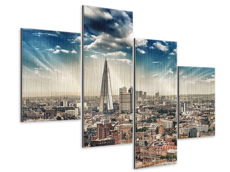 Metallic-Bild 4-teilig modern Skyline Über den Dächern von London