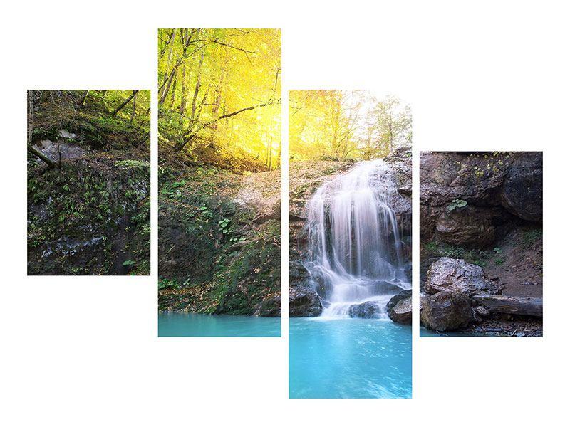 Metallic-Bild 4-teilig modern Fliessender Wasserfall