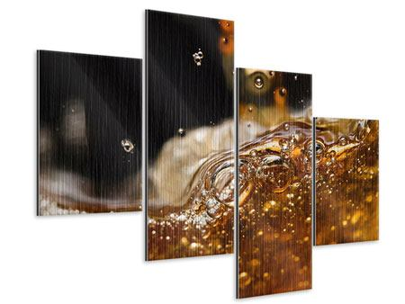 Metallic-Bild 4-teilig modern Cognac