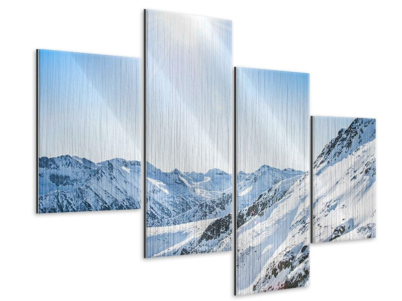 Metallic-Bild 4-teilig modern Bergpanorama im Schnee