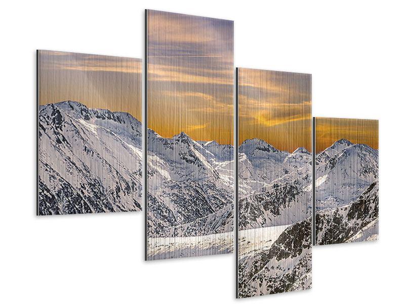 Metallic-Bild 4-teilig modern Sonnenuntergang in den Bergen