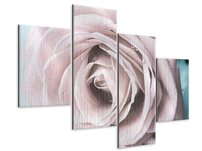 Metallic-Bild 4-teilig modern Pastellrose