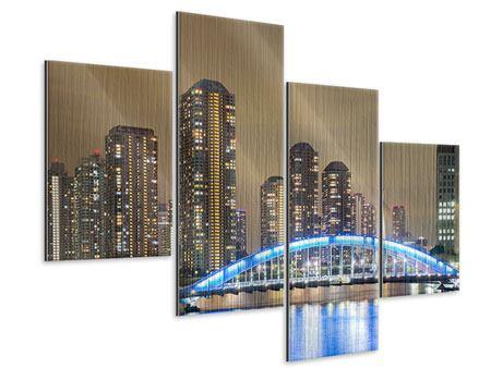 Metallic-Bild 4-teilig modern Skyline Tokio in der Nacht