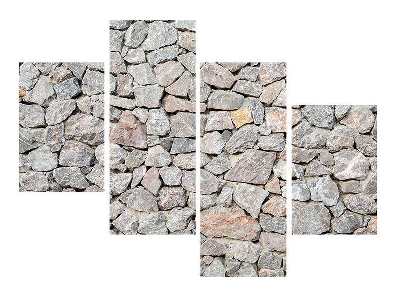 Metallic-Bild 4-teilig modern Grunge-Stil Mauer