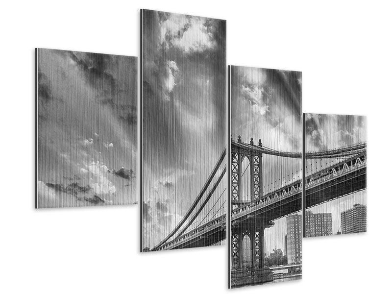 Metallic-Bild 4-teilig modern Manhattan Bridge