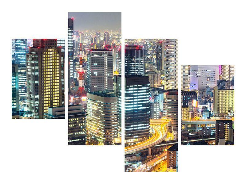 Metallic-Bild 4-teilig modern Skyline Osaka im Lichtermeer