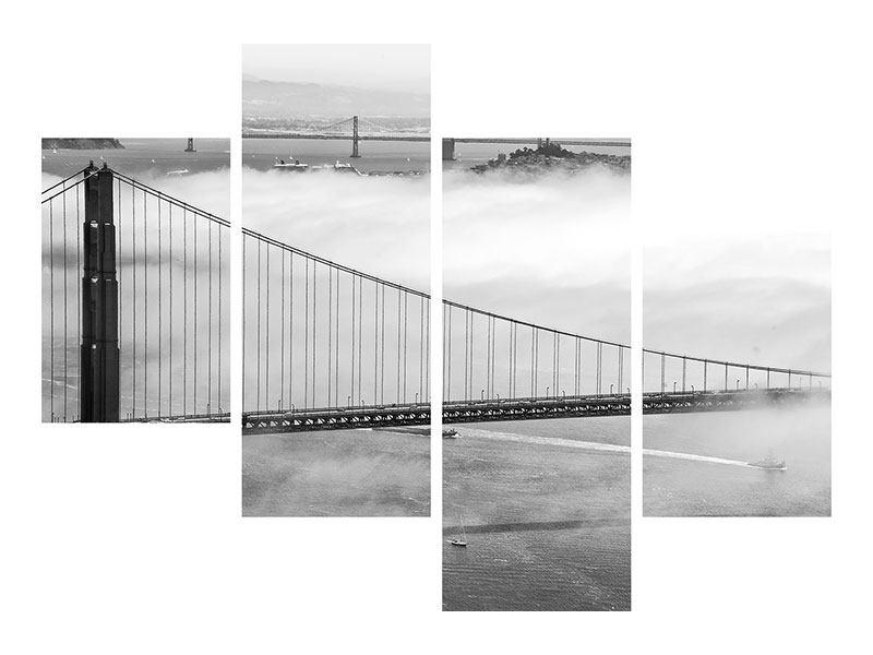 Metallic-Bild 4-teilig modern Golden Gate Brücke