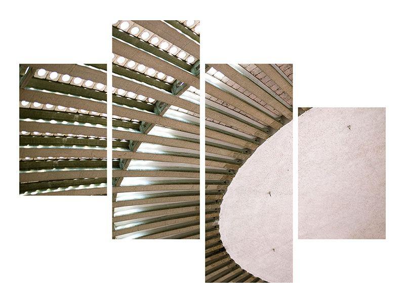 Metallic-Bild 4-teilig modern Abstraktes Rad