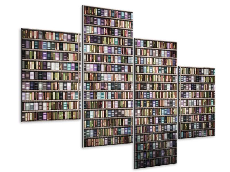 Metallic-Bild 4-teilig modern Bücherregal