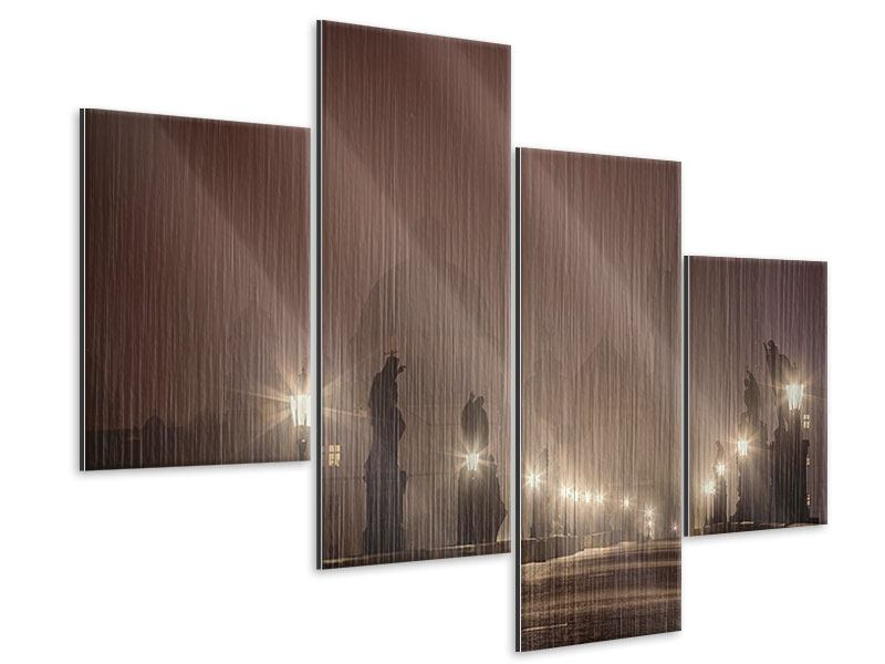 Metallic-Bild 4-teilig modern Die Karlsbrücke bei Nacht