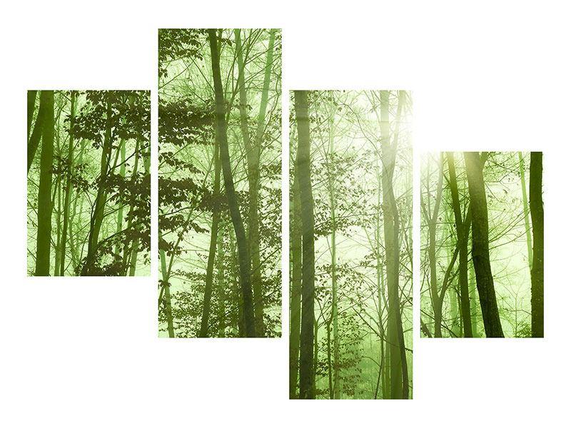 Metallic-Bild 4-teilig modern Nibelungenwald