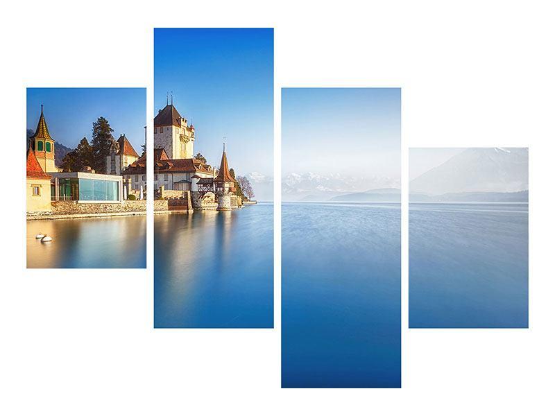 Metallic-Bild 4-teilig modern Schloss Oberhofen am Thunersee
